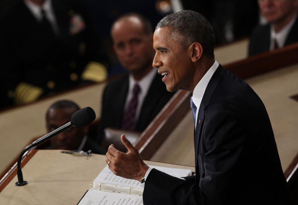 President Barack Obama delivers his State of the Union speech before members of Congress in the House chamber of the U.S. Capitol January 20, 2015 in Washington, D.C. (Alex Wong/Getty Images)