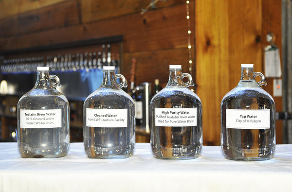 Water samples at the Clean Water Services brewing competition last year used to compare their high-purity water to other local sources of water.