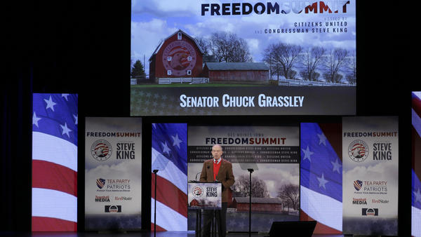 Sen. Chuck Grassley, R-Iowa, speaks during the Freedom Summit on Jan. 24, in Des Moines, Iowa.