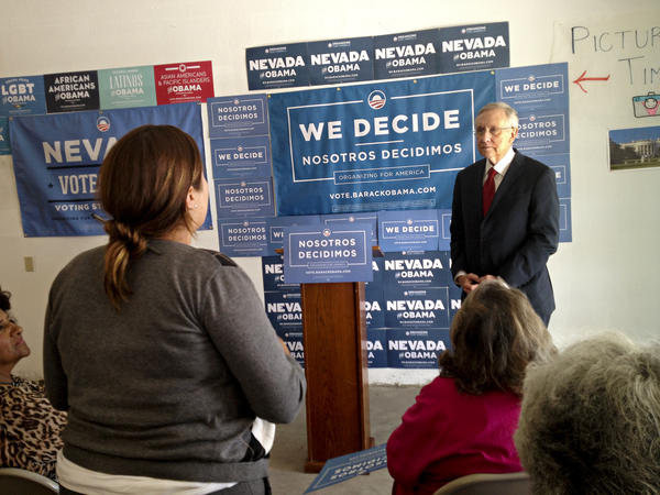 Senate Majority Leader Harry Reid of Nevada takes questions from Latino volunteers at an Obama field office in Las Vegas.