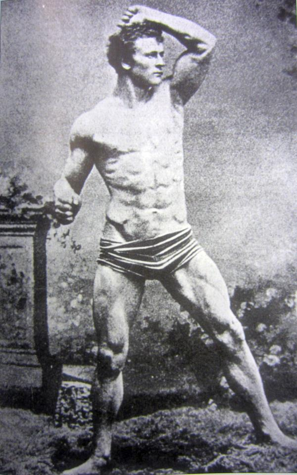 Eugen Sandow, photographed circa 1885, was a German-Russian bodybuilder credited with founding the physical culture movement in Europe. He opened several Institutes for Physical Culture to teach healthy eating and physical fitness throughout Europe.