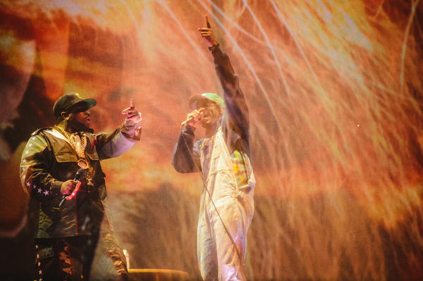 Big Boi (left) and Andre 3000 of OutKast on stage at Coachella, for the first show of a reunion tour scheduled to run through the summer.