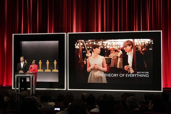 Chris Pine and Cheryl Boone Isaacs announce the film <em>The Theory of Everything</em> during the Best Picture category at the Oscar Nominations announcement on Jan. 15 in Beverly Hills, Calif.