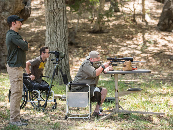 Former Marine Jacob Schick (at right) has a small part in <em>American Sniper</em> as one of the veterans mentored by Chris Kyle