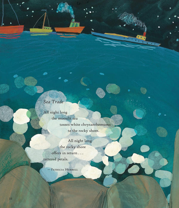 "<em>Poems from</em> Firefly July: A Year of Very Short Poems. <em>Compilation Copyright 2014 by Paul B. Janeczko. Illustrations Copyright 2014 by Melissa Sweet. Reproduced by permission of the publisher, Candlewick Press, Somerville, MA. ""Sea Trade"". Copyright 2014 Patricia Hubbell. Used by permission of Marian Reiner for the author. </em>"