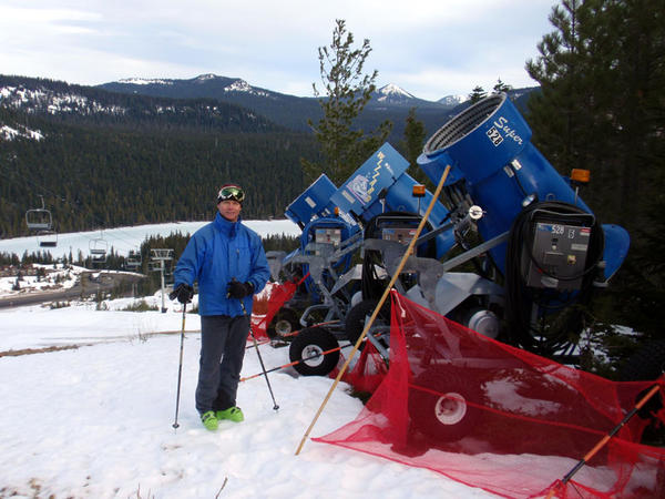 White Pass Ski Area general manager Kevin McCarthy with the snow guns he credits as ''a lifesaver.''
