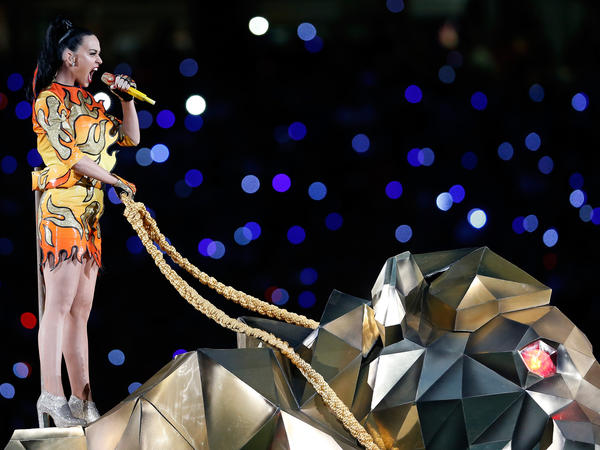 Singer Katy Perry performs during halftime at Super Bowl XLIX.