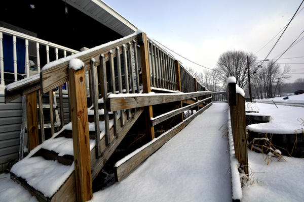 A ramp on the home of Rick and Cheryl King's home in East Syracuse. A grant helped pay for the ramp while they look for more accessible housing.