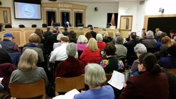 <p>More than 100 people attended the hearing in Skagit County for a proposal by Shell Oil to build a rail expansion to receive oil trains at its Anacortes refinery. </p>