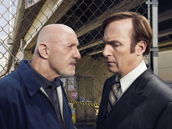 Jonathan Banks (left) plays Mike Ehrmantraut, a former cop and a hit man, on the new series. He often carries out illegal instructions from Saul Goodman (right, played by Bob Odenkirk).