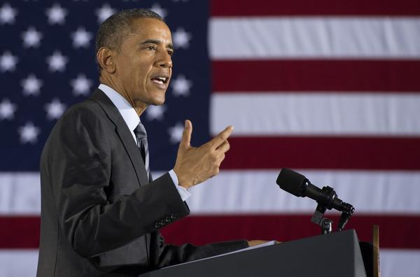 President Barack Obama speaks at the Department of Homeland Security about the administration's fiscal year 2016 budget request released earlier today February 2, 2015 in Washington, D.C. (Jim Watson/AFP/Getty Images)