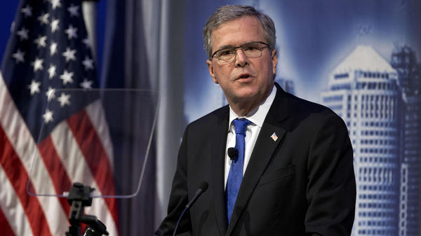 Former Florida Gov. Jeb Bush speaks at the Detroit Economic Club Wednesday.