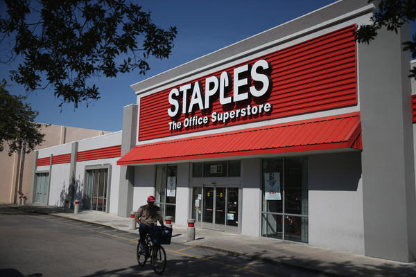 Staples bought Office Depot for $6.3 billion this week. (Joe Raedle/Getty Images)