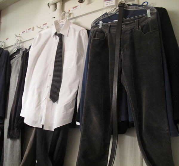 """The costumes hanging in David's dressing room aren't too far from his schlumpy wardrobe from <em>Curb Your Enthusiasm. </em>""""Why can't I just wear my own clothes?"""" David asks."""