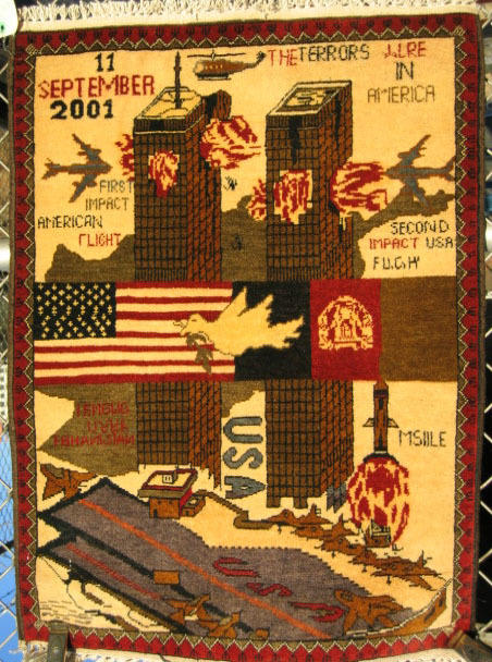 This rug depicts the events of Sept. 11.