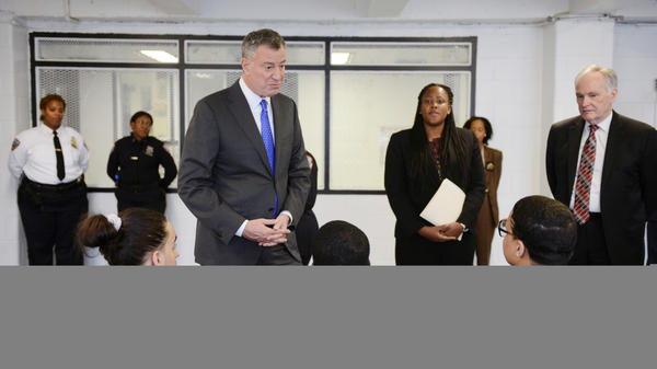 New York Mayor Bill de Blasio tours and meets with youth Dec. 17 at Second Chance Housing on Rikers Island in New York City. Second Chance Housing is an alternative for incarcerated adolescents, instead of punitive segregation, also known as solitary confinement.