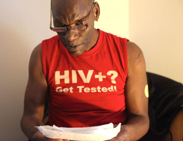 Michael Hawkins, 56, contracted HIV when he was in his late 20s. He now joins a growing number of older Americans living with the virus.  (Aundrea Murray, WNPR)