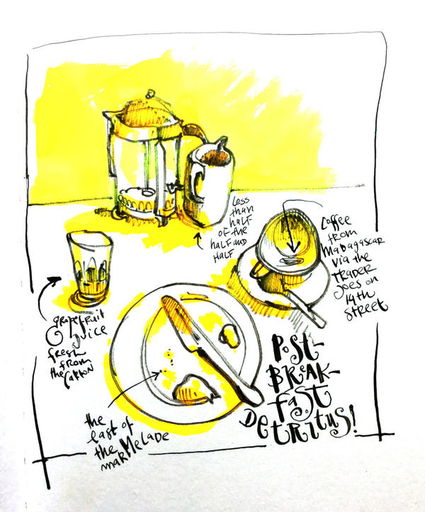 Danny Gregory sent us this sketch of his breakfast this morning. (Danny Gregory)