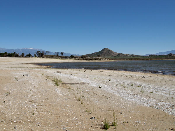 California's long-term drought has significantly dropped the water level at Lake Perris in Southern California. According to local fishermen, all of this sand used to be covered in water.