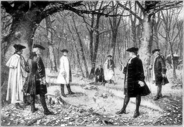 Depiction of the duel between Alexander Hamilton and Aaron Burr.