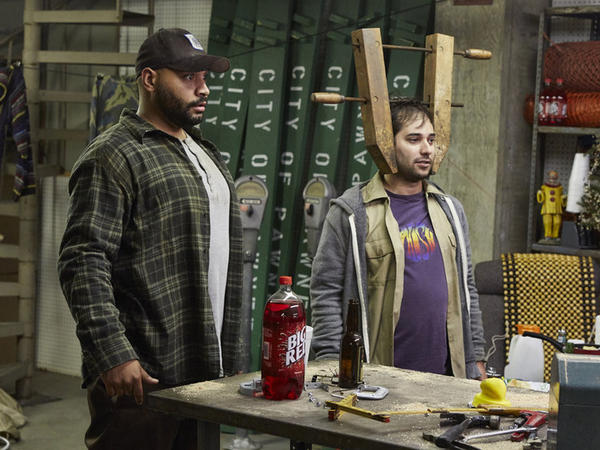 Along with Colton Dunn (L), Harris Wittels (R) played a bumbling member of the Pawnee animal control team on the show he co-executive-produced, <em>Parks And Recreation</em>.