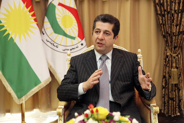 Masrour Barzani, head of the Kurdish region's National Security Council, speaks in Erbil, in northern Iraq, last July. Barzani says that with U.S. air support, the Kurdish Peshmerga forces have pushed back the Islamic State in several areas. However, he says the Iraqi army will be needed to retake Mosul, the country's second-largest city.