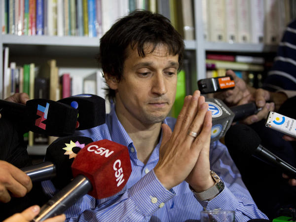 Diego Lagomarsino, a computer expert who gave late prosecutor Alberto Nisman the gun that killed him, speaks to reporters during a press conference in Buenos Aires last month.