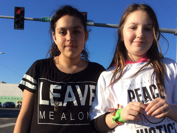 Lizbeth Castaneda, 12, left, and her friend, Elizabeth Patrick, 9, both of Pasco. Patrick says she witnessed the shooting of Antonio Zambrano-Montes near a busy grocery store and was scared.