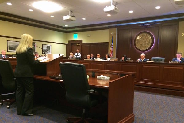 Dr. Julie Madsen testifies against a bill on abortion medication at the Idaho House State Affairs Committee.