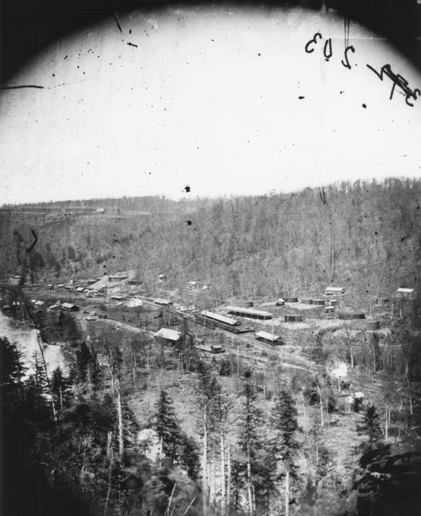 Miller Farm, the terminus of Van Syckel's pipeline, in 1868. The oil was pumped to Miller Farm and then transported by railroad.