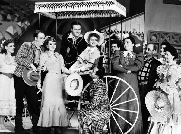 Her Broadway breakout role was Ado Annie (holding the hat) in the 1943 musical <em>Oklahoma!</em>