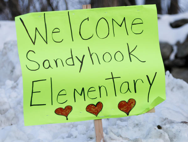 A sign of support for the Sandy Hook students, on a road between Newtown and Monroe, Conn.
