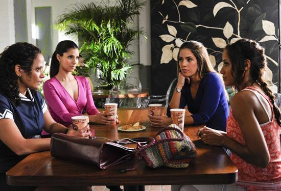 Judy Reyes (from left), Roselyn Sanchez, Ana Ortiz and Dania Ramirez all star in Lifetime's new series about Latina housemaids, <em>Devious Maids</em>.