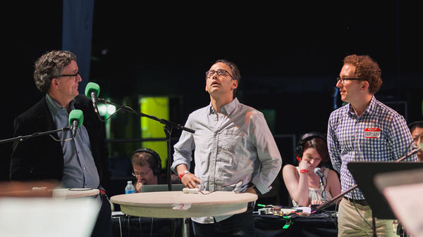 <em>Studio 360</em>'s Kurt Andersen (left), filmmaker David Wain and civilian contestant Brian Gillis are the last three standing in this Ask Me One More final round. Who will be victorious?