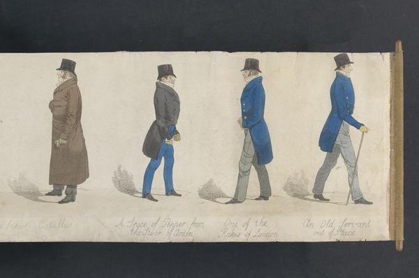 "Richard Dighton (1795-1880) was Robert Dighton's son. His 1823 <em>Mirror of Fashion</em> is a panoramic depiction of 53 ""dandies of the day."""