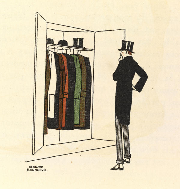 Publications such as the influential fashion journal <em>Gazette du Bon Ton</em> featured illustrations like this one from 1913 by Bernard Boutet de Monvel, which depicts the life of the flaneur, or the fashionable man on the street.