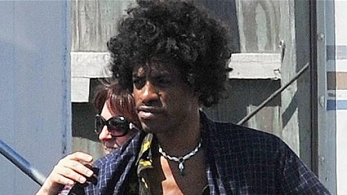 Andre 3000 on set as Jimi Hendrix.