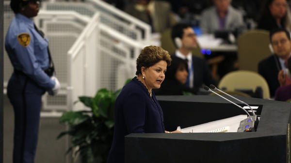 Not Happy: Brazilian President Dilma Rousseff addresses the 68th U.N. General Assembly in New York on Tuesday.