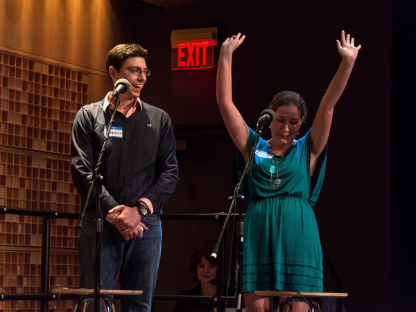 "Contestants Anne Holsinger (right) and Jonathan Bettle correctly answer questions in the game ""Whee!"""