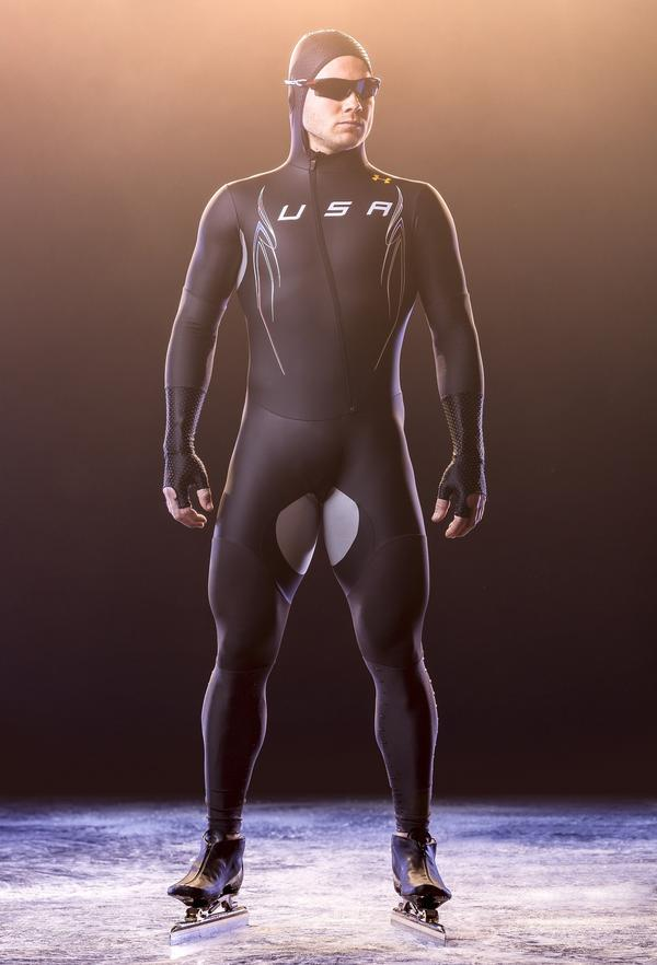 The new U.S. speedskating team uniforms feature several different kinds of fabric, including open mesh panel in the back to let out heat and an anti-friction material at the thighs.