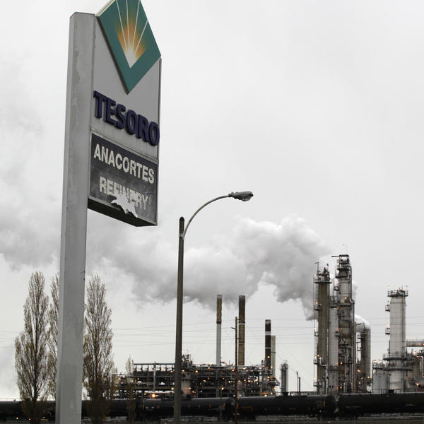 A Tesoro Corp. refinery is shown Friday, April 2, 2010, in Anacortes, Wash., after an explosion and fire that killed eight people.