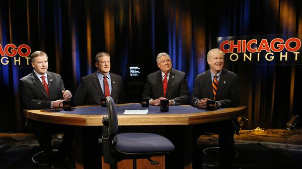 Republican gubernatorial primary candidates from left, state Sen. Bill Brady, state Treasurer Dan Rutherford, state Sen. Kirk Dillard and businessman Bruce Rauner prepare for their March 13 debate.