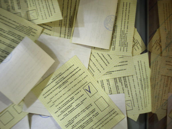 A pile of the votes cast Sunday in Simferopol, Ukraine, the regional capital of Crimea.