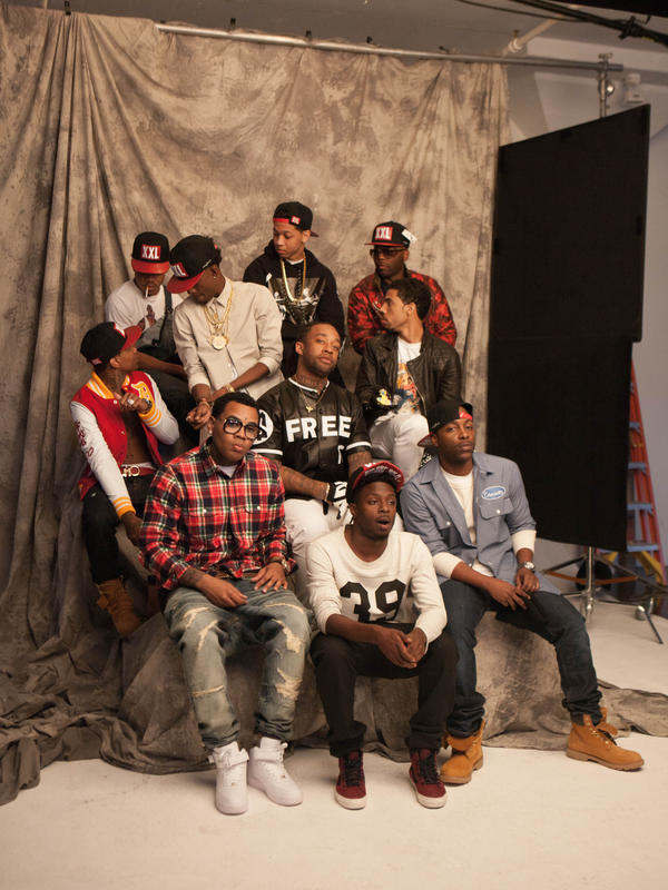 10 of this year's 12 Freshmen. Back row (all left to right): Chance the Rapper, Lil Bibby and Jarren Benton. Middle row: Lil Durk, Rich Homie Quan, Ty Dolla Sign and Vic Mensa. Bottom row: Kevin Gates, Isaiah Rashad and Jon Connor. Absent: August Alsina and Troy Ave.