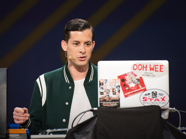 Mark Ronson on the TED stage.
