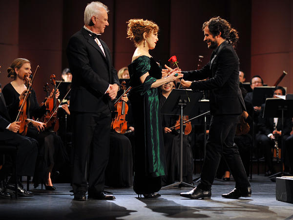 Gael García Bernal (right), Bernadette Peters and Malcolm McDowell star in the classical music comedy series <em>Mozart in the Jungle</em>.