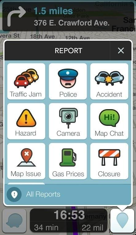 Waze's police reporting tool is one of several features in the app. Users can also share reports of traffic and construction in real time.