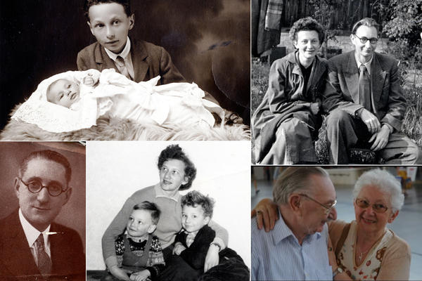 <strong>Lilli Tauber, a survivor of the Holocaust (clockwise):</strong> Lilli as a baby with her brother Eduard Schischa in 1927; Lilli and her husband, Max Tauber, in 1954; Lilli and Max in 2009; Lilli and her sons Willi and Heinz in 1959; Harry Watts, Lilli's friend and benefactor who helped her and other Jewish children emigrate to England after Kristallnacht.