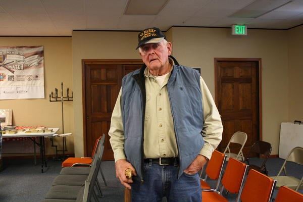 Marine veteran Jim Smith, who fought in Vietnam, plans to use his eagle head cane to help him get around.