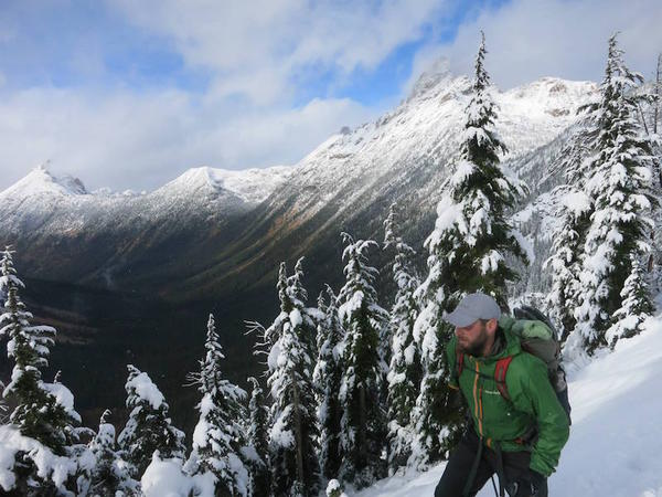 Shawn Forry ascending above the snowline in Washington's North Cascades.